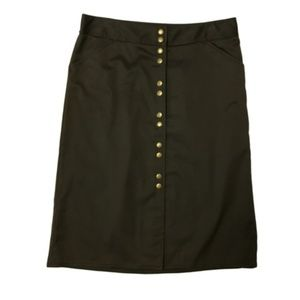J CREW snap front army green skirt 8